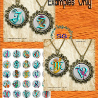 Fractal Alphabet Art II - - Digital Collage Sheets - 1.5 inch Circles for Jewelry Makers, Party Favors, Wedding Projects, Crafts