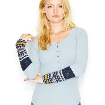 Free People Long-Sleeve Contrast-Detail Henley