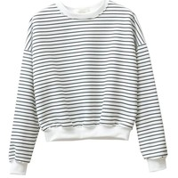 Round Neckline Navy Stripes Short Sweatshirt With Long Sleeves