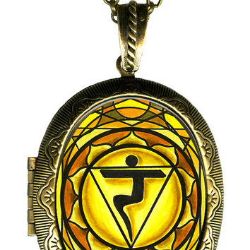 3rd Chakra Manipura Intuition Big Locket Pendant Empty or Solid Perfume