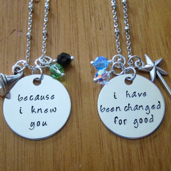 Wicked Musical Inspired Friendship Necklaces. Elphaba & Galinda. Set of 2. Silver colored, Swarovski crystals, for women or girls
