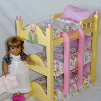 Triple Doll Bunk Bed with Nine piece Precious Pastel colored Owl Bedding Fits American Girl Doll and 18 inch Dolls Handmade