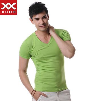 High Quality Cotton T-Shirt Men Brand XUBA T Shirts Men Sexy V Neck Mens T Shirts Simple Plain Colors Tee Tops White T Shirt
