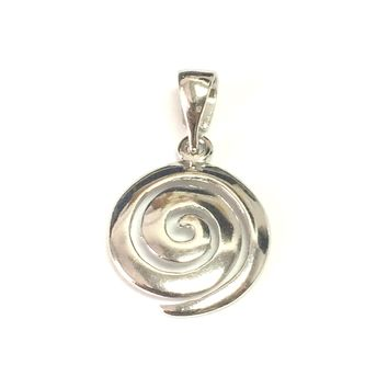 Sterling Silver Rhodium Plated Round Spiral Pendant
