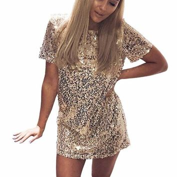 Sequins Gold T Shirt  Evening Mini Dress