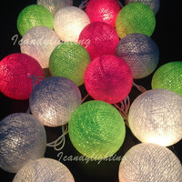 Cotton ball lights for home decor,party decor,wedding patio,20 pieces indoor string lights,bedroom fairy lights pink grey tone