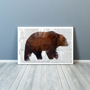 Modern art Grizzly bear print Colorful decor Animal poster TO175-2