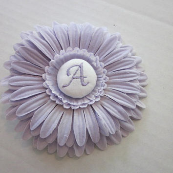Flower Clip, Monogrammed Bows, Lavender Monogrammed Flower Hair Clip By Sweetpeas Bows & More