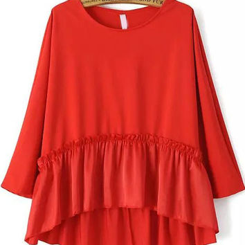 Red Long Sleeve Ruffled Bottom Blouse