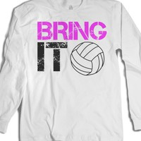 Bring it Volleyball long sleeve tee t shirt-Unisex White T-Shirt