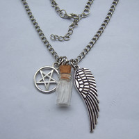 SUPERNATURAL PROTECTION NECKLACE ANGEL WING PENTAGRAM ROCK SALT & BURN PENDANT