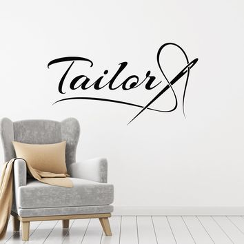 Vinyl Wall Decal Tailor Needle Thread Atelier Studio Tailoring Art Decor Stickers Mural (ig5379)