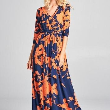 Floral Maxi Wrap Dress in Navy Coral