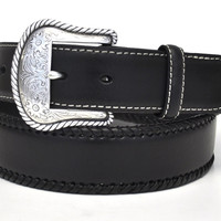 Nocona Men's Western Lace Edge Round Concho Leather Belt-Black