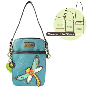 Chala Crossbody Cell Phone Purse in PU Leather (Turquoise Dragonfly)