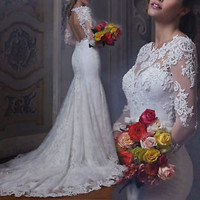Long Sleeves White Bridal Wedding Dress with Open Back Custom Size 2 4 6 8 10 12