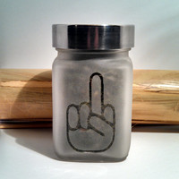 Retro Flip You Off Etched Glass Stash Jar - Recreational Marijuana & Medical Cannabis Stash Jar - Gifts for Him - 420 Gift