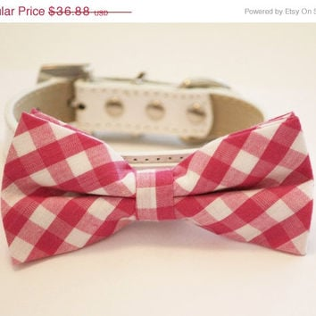 Plaid Pink Dog Bow tie with High Quality White Leather Collar, Cute Dog Bow tie,Cute Pink Dog Bow tie