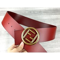 Fendi Tide brand women's retro wild smooth buckle belt Red