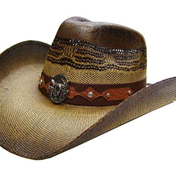 Modestone Men's Straw Cowboy Hat Metal Bull Skull & Feathers Concho Studs Hatband M Brown