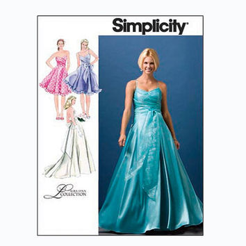 Evening Cocktail Wedding Bridesmaid Fit & Flare Dress Gown Laura Lynn Simplicity 2959 Bust 29.5-30.5-31.5-32.5-34 UNCUT Sewing Patterns