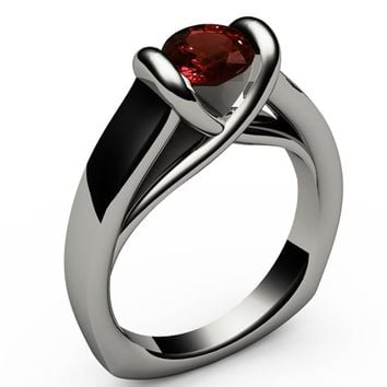Ruby Ring Unique Engagement Ring Solitaire Ring Bar setting Tension Heavy Ring 18K White gold For Her as Christmas Gift