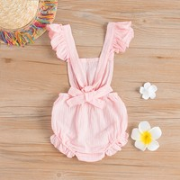 Baby Sweet Solid Ruffled Sleeves Romper for Baby and Toddler Girls at PatPat.com