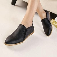 Sexy Simple Classic Oxford Women's Flat Round Toe Pump Shoes Black Solids 1o5