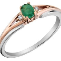 Emerald Ring with Diamonds in 10K White and Pink Gold, Size 7.5