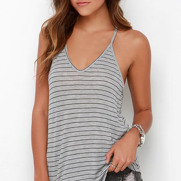 Tetherball Champ Grey Striped Tank Top