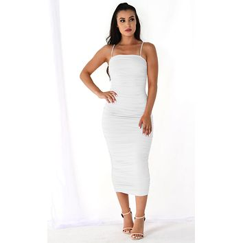 Heart Throb White Stretchy Sleeveless Spaghetti Strap Ruched Bodycon Midi Maxi Dress