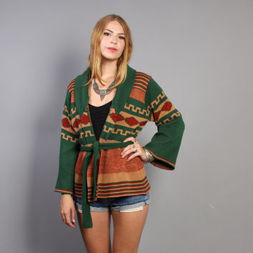 1970s CARDIGAN SWEATER / Belted Native Inspired Bell Sleeve Cardi