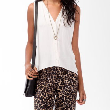 Draped High-Low Button Up