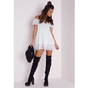 Cheesecloth Crochet Trim Bardot Skater Dress White - Dresses - Skater Dresses - Missguided
