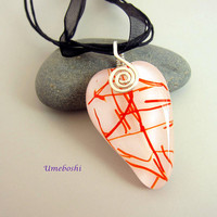 Fused Glass Heart Pendant, Red Streamers on White w Handmade Argentium Sterling Silver Spiral Bail