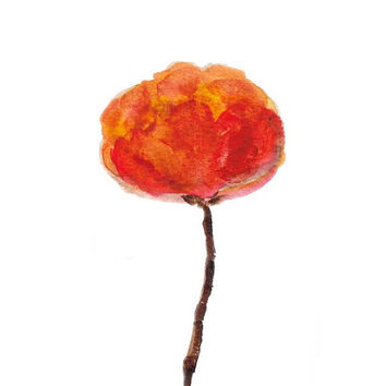 Orange Poppy Art Print 8x10 Watercolor Painting Floral Contemporary Poppies