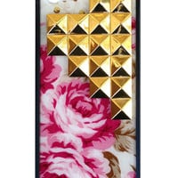 Cream Floral Gold Studded Pyramid iPhone 5/5s Case