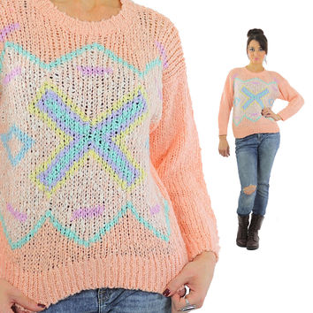 Metallic Sweater Pastel Pink Blue Yellow 80s Abstract Cross Sweater Zigzag Oversized Wool Hipster Small Medium