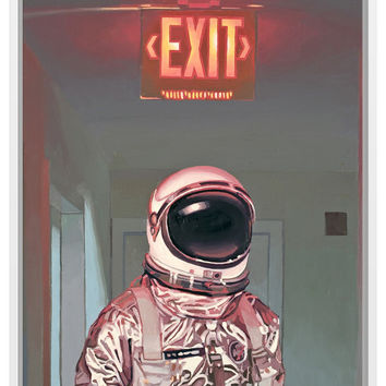 Exit Framed Stretched Canvas
