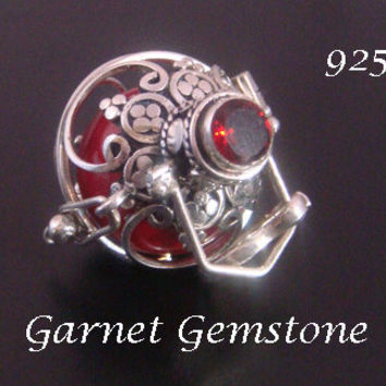 Harmony Ball with Stunning Garnet Gemstone on a Sterling Silver Cage with Red Ch