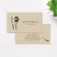 Love Pet Paw Print Brown Grunge Typography Business Card
