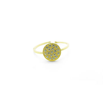 Arabesque Silver with Zircons, Gold-Plated Ring
