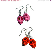 ON SALE Pink and Orange Skull Earrings, Set of Two Pairs