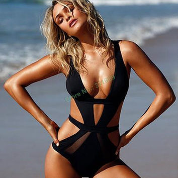 New solid black cut out one piece swimwear high cut mesh one piece swimsuit sexy monokini hollow out bathing suit mesh swimwear