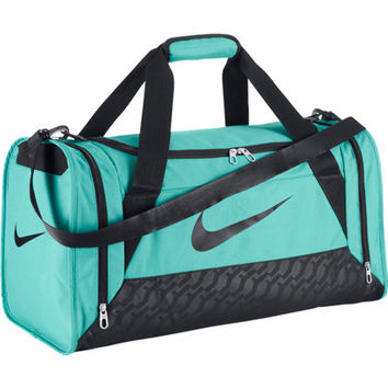 Nike Brasilia 6 Duffel Small Light Aqua Black Duffle Gym Bags Backpacks Wom