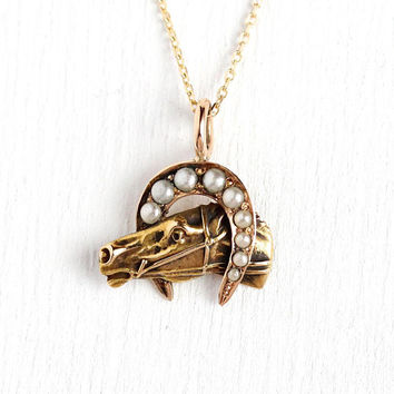 Antique Equestrian Necklace - Edwardian Era 10k Rosy Yellow Gold Stick Pin Conversion Pendant - Horseshoe Good Luck Seed Pearl Horse Jewelry