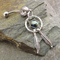 Dream Catcher Belly Button Ring Silver Feathers Light Mint Green Belly Jewelry