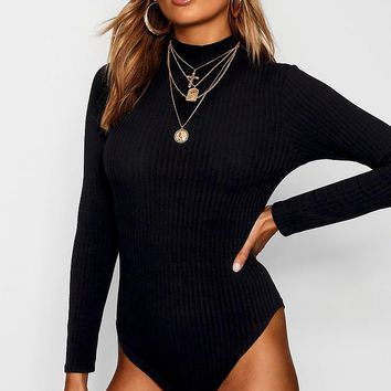 Turtle Neck Long Sleeve Knitted Rib Bodysuit | Boohoo