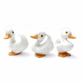 Set of 3 Vintage HOMCO Porcelain Baby Ducks Bird Figurines Signed Home Interiors #1414