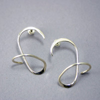 Contemporary Sterling Silver Earrings - Bold Modern Stud Design for Women - 925 Sterling Silver